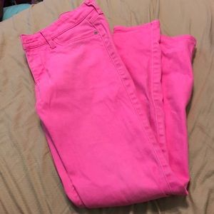 Neon pink Abercrombie and Fitch jeans